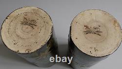 Lunéville. Paire de vases rouleaux en faïence décor art nouveau, fin XIXe siècle