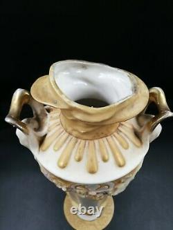 MAGNIFIQUE VASE ANCIEN Royal Dux Art Nouveau Fleuri Tête de femme Blanc et jaune