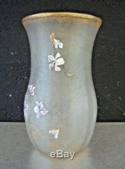 MONTJOYE St denis-Vase art nouveau gravé acide décor violettes-daum, gallé, muller