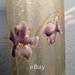 MONTJOYE St denis-Vase art nouveau gravé acide violettes émaillées, daum, gallé