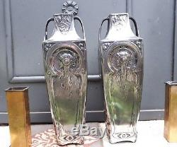 Magnifique paire de vases Art Nouveau Jugendstil mucha