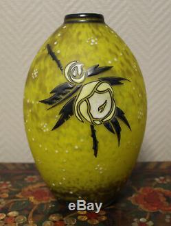 Magnifique vase art nouveau en pate de verre dégradé jaune Delatte Nancy