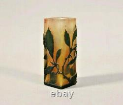 Miniature Daum Ancien Art nouveau signé vase 10 cm, carré dégagé acide RARE