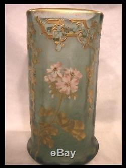 Montjoye Legras Vase Verre Givré Émaillé Doré Fleur Pommier Art Nouveau 1900
