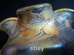 Montjoye/Legras Vase verre givré doré et dégagé à l'acide Art nouveau pavots