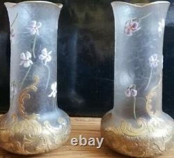 Montjoye Legras petits vases en verre émaillé Art Nouveau 1900