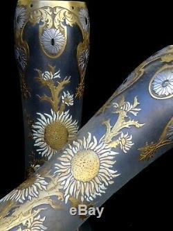 Montjoye Paire de Magnifiques Vases Art Nouveau Emaillés et Gravé Acide