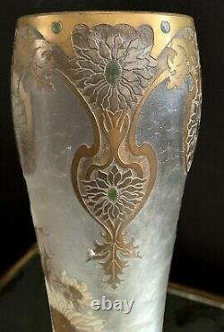 Montjoye Saint-denis -GD Vase Art Nouveau dégagé à l'acide et émaillé-daum-gallé