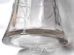 Moser Karlsbad / Glasfabrik Austria Grand Vase Cristal Taille Art Nouveau Fleurs