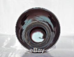 Muller Croismare Rare Vase Clématite Pâte de Verre Gravé Roue Poli ART NOUVEAU