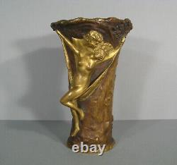 Nymphe Et Faune Ancien Vase Bronze Signé Louchet Dans Le Goût Charles Korschann