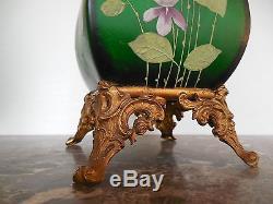Paire De Vases En Verre Emaille, Socle En Bronze, Art Nouveau