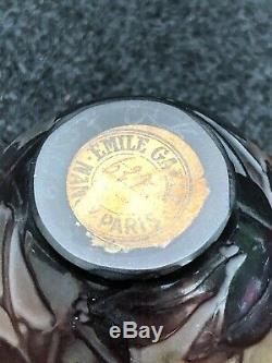 PETIT VASE EN PATE DE VERRE SIGNÉ GALLÉ acide art nouveau émile gallé no daum