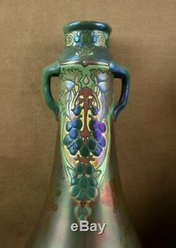 Paire D'importants Vases Art Nouveau Ceramique Irisée Emaillée Signé Montieres