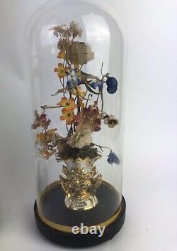Paire De Globes De Mariée Napoléon III D Époque Avec Fleurs En Tissus Dorigine