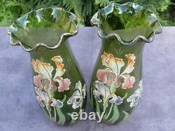 Paire De Grands Vases Verre Emaille Legras Iris Art Nouveau