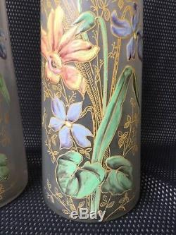 Paire De Vases Art Nouveau À Décor Émaillé De Fleurs Legras