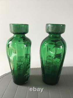 Paire De Vases Art Nouveau Émaillé Décor Chardons Legras Montjoye