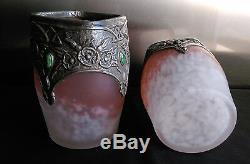 Paire De Vases Art Nouveau En Pate De Verre & Etain