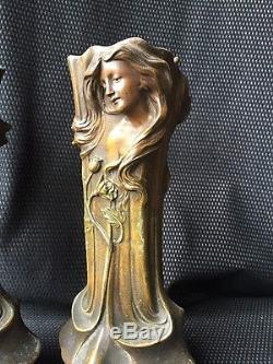 Paire De Vases Art Nouveau En R 233 Gule D 233 Cor Femme 1900 Sign 233 S Flora