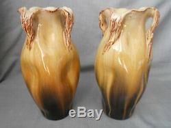 Paire De Vases Art Nouveau Pierre Perret Succ. J. Massier Vallauris