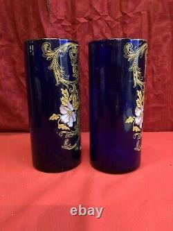 Paire De Vases Art Nouveau Verre Émaillé Époque 1900 Décor De Fleurs Sty. Legras