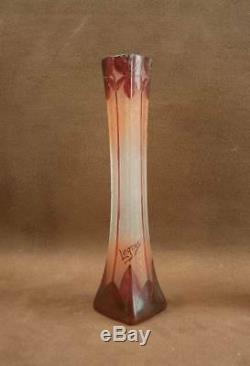 Paire De Vases Art Nouveau Verre Gravé A L'acide Signé Legras Serie Rubis