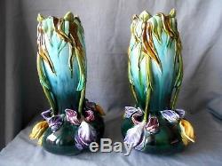 Paire De Vases Coloquinte Art Nouveau En Barbotine Massier Onnaing H. 32cm