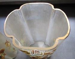 Paire De Vases Décor émaillé LEGRAS Art Nouveau, montjoye/glass/19th 22 Cm