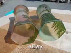 Paire De Vases Emailles Au Decor D' Arbres Epoque Art Nouveau En Verre Legras