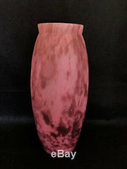 Paire De Vases En Pate De Verre Mauve Mouchete Art Nouveau C1304