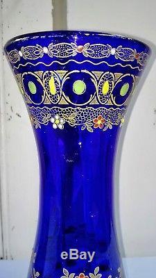 Paire De Vases En Verre Bleu Émaillé Legras Montjoye 1900 Art Nouveau