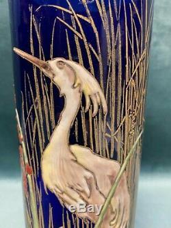 Paire De Vases En Verre Emaillé Art-nouveau