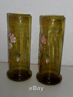 Paire De Vases En Verre Emailles Legras. Art Nouveau