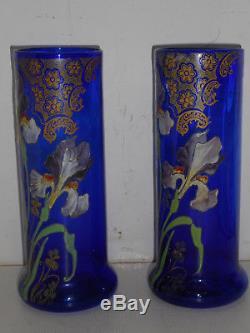 Paire De Vases En Verre Emailles Legras. Epoque Art Nouveau