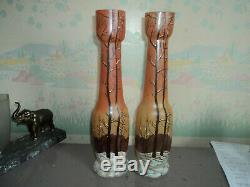 Paire De Vases Legras Emaillee Paysage De Neige Art Deco Nouveau Era Daum Muller