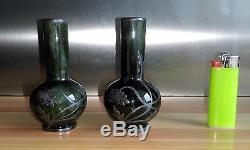 Paire De Vases Miniatures En Grès Art Nouveau Monture En Étain