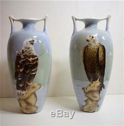 Paire Vase faïence Art Nouveau Aigle Neige Hollande 1900 Jugendstil signé