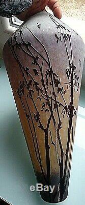 Paire Vases Anciens / Art Nouveau / Pate De Verre Decor Floral 50 Et 30 CM