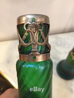 Paire Vases Irisé Kralik Art Nouveau 1900 Bohemian Glass Jugendstil Boheme