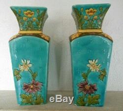 Paire Vases porcelaine de Sèvres Art Nouveau P Millet French Vase Signed Sevres