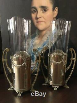 Paire de Grands Vases Art Nouveau Jugendstil Verre et Laiton 1900