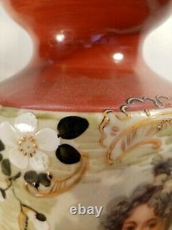 Paire de Grands Vases en Opaline Art Nouveau 30 cm de haut exceptionnel
