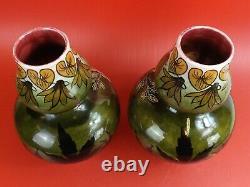 Paire de Vases Coloquinte Art Nouveau en Barbotine, Onnaing. Vers 1900