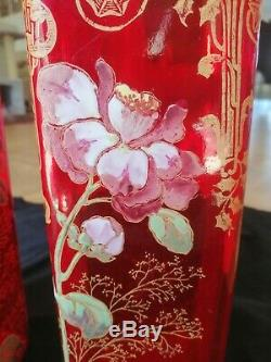 Paire de grands vases LEGRAS Art nouveau