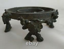 Paire de supports bronze signés BACCARAT / Art Nouveau / Pied de vase déco