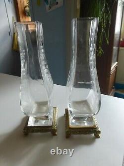 Paire de vase art nouveau BACCARAT sublime décor de muguet gravé base bronze