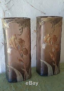 Paire de vases Art Nouveau signés Montjoye, era Gallé Daum Walter Argy-Rousseau