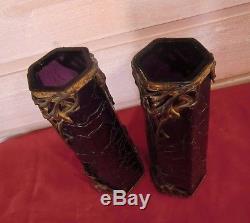 Paire de vases Art Nouveau verre violet irisé monture régule doré