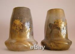 Paire de vases LEVY-DHURMER & CLEMENT MASSIER art nouveau céramique golfe juan